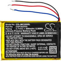 Cameron Sino 800 mAh batterie GSP383555 pour JBL Clip 2, Clip 2 AN, CLIP2BLKAM, CS056US, P04405201