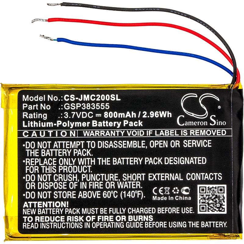 Cameron sino 800 mah bateria gsp383555 para jbl clipe 2, clip 2 um, clip2blkam, cs056us, p04405201