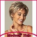 Медуза продукты волос: Синтетические пастельные парики для женщин Современные шаг стили Короткие волнистые Смешивать цвета парик с челкой SW0098A