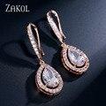 ZAKOL Preço de Fábrica Mulheres Na Moda Branco/Rose Banhado A Ouro Gota de Água Forma Cubic Zirconia Rhinestone Gancho Dangle Brincos FSEP331