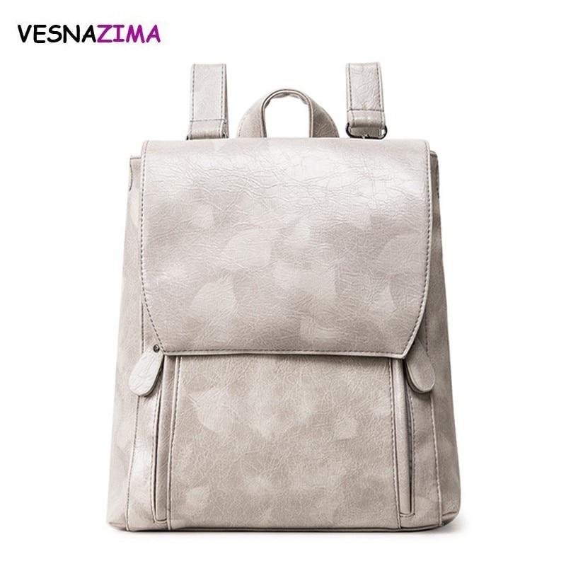 Vesnazima Women Backpack Fashion PU Leather School Bag For Teenager Girls Backpack Print Rucksack Bag pack WM02X Mochila Escolar