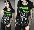 Alisister hip hop camiseta de los hombres/de las mujeres de la familia addams camiseta clothing camiseta de cuello redondo de impresión de película de terror harajuku camiseta
