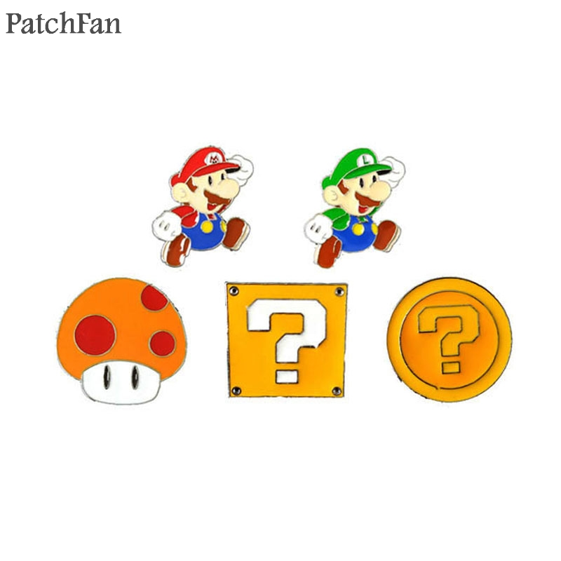 20pcs/lot Patchfan Super Mario Cartoon Zinc Tie Cartoon Cute Pins Backpack Clothes Brooches For Men Women Hat Badge Medal A1063 Distinctive For Its Traditional Properties Badges