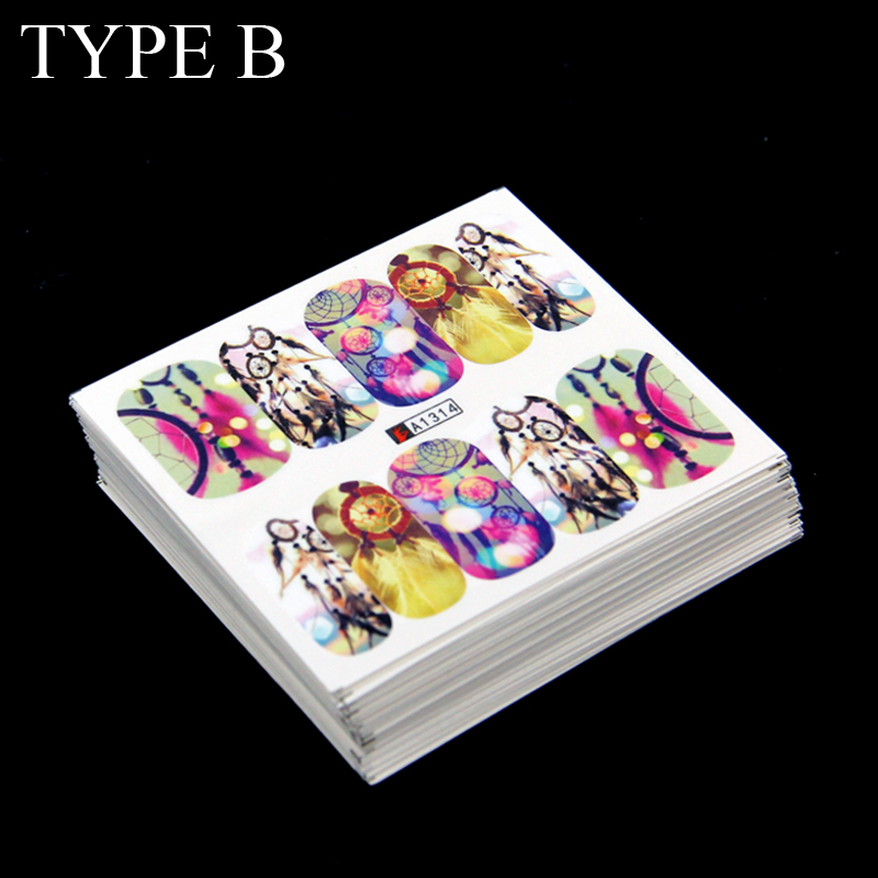 Wholesale 50 Sheets Watermark Water Transfer Sticker Design Tip Nail Art Stickers Nails Decal Manicure Tools Full Cover 2 Types 1 sheet beautiful nail water transfer stickers flower art decal decoration manicure tip design diy nail art accessories xf1408