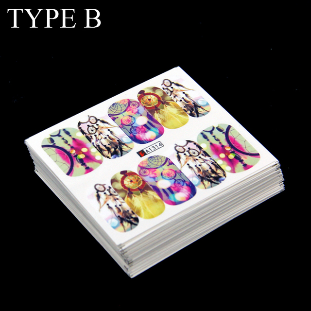 Wholesale 50 sheets watermark water transfer sticker design tip nail art stickers nails decal manicure tools