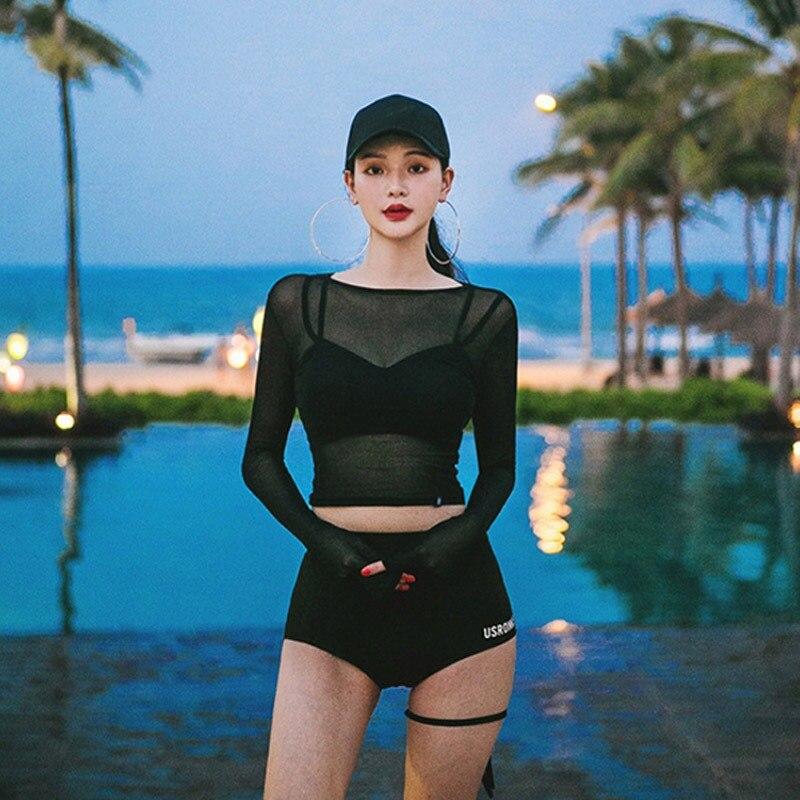 3Pc Women Bikini Set Sweet Mesh Perspective Solid High Split Elastic Waist Long Sleeve Three-Piece Sports Sunscreen Swimsuit