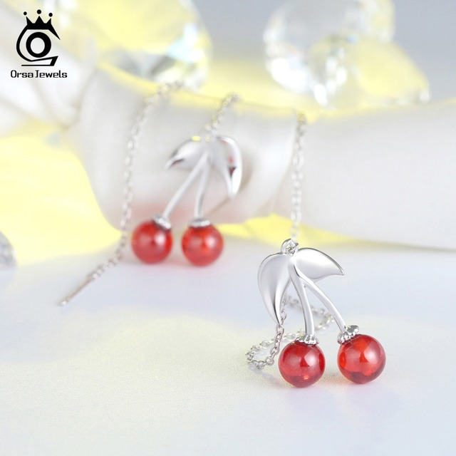 ORSA JEWELS Real 925 Sterling Silver Women Drop Earrings Long Chain Cherry Pattern Garnet Female Party.jpg 640x640 - ORSA JEWELS Real 925 Sterling Silver Women Drop Earrings Long Chain Cherry Pattern Garnet Female Party Romantic Jewelry SE100