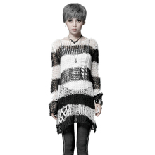 Stylish White/Black Striped Broken Hole Sweater Women Trendy Long Sleeves Casual Pullover Computer Knitting Female Sweaters Tops white knitting roll neck long sleeves sweaters