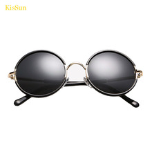 2016 Black G ray Round Retro Ladies Steampunk Sun Glasses Polarized Sunglasses Kids Mirrored Eyewear Shades KisSun Brand KS2398