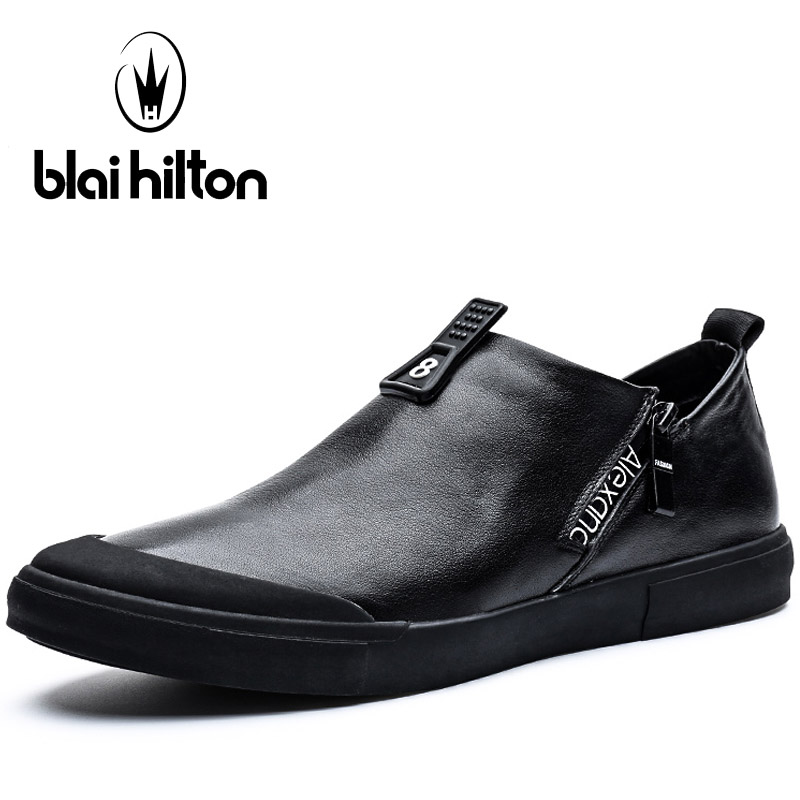 Blaibilton Elastic band Skateboard Shoes For Men Genuine Leather Men's Sneakers 2017 New Summer Breathable Sport Shoes Man Brand