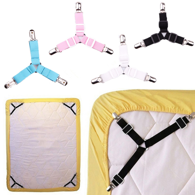 4PCS/Lot Adjustable Bed Sheet Clips Sofa Cover Grippers Holder Mattress Blanket Bedding Sets Fixing Slip-Resistant Belt