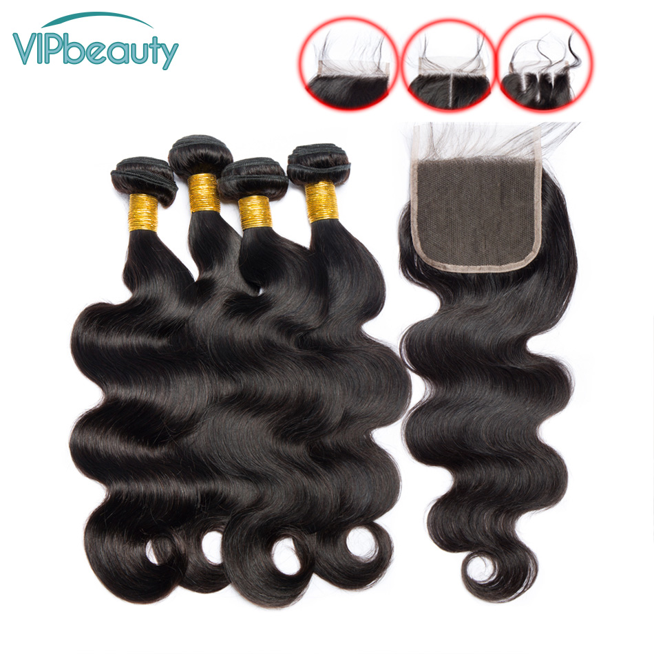 Vipbeauty Body Wave 3 Bundles with Closure Non remy Brazilian Hair Extension 1B Human Hair with
