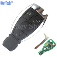 OkeyTech 3 Buttons Car Remote Key Shell For Mercedes Benz year 2000+ BGA Control 433MHz Auto Replacement Key Fob for MB Auto Key