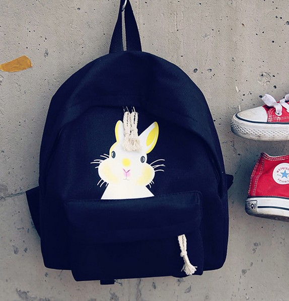 cute rabbit cartoon print cute lovely backpacks fashion pure color preppy style canvas traveling bag school