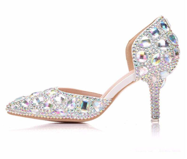 Women Elegant Crystal Wedding Shoes Nude White Heel Dress Pumps Clear PVC Shoes Glitter Pumps