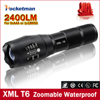 Big Promotion Ultra Bright CREE XML T6 LED Flashlight 5 Modes 2400 Lumens Zoomable LED Torch