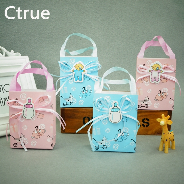 12pcs Baby Shower Candy Box Cute Gift Handle Bag Paper For Baby