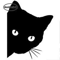 HotMeiNi 50cm x 50cm 2X Cat Face With Whiskers Peeking Car Sticker For Cars Door Side Truck Window Rear Windshield Vinyl Decal