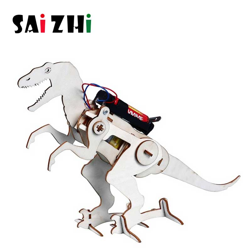 Saizhi Creative DIY 3D Walking Wooden Puzzle Dinosaur Toy Gift For Children Small Invention Assembled Toy Components SZ33f1