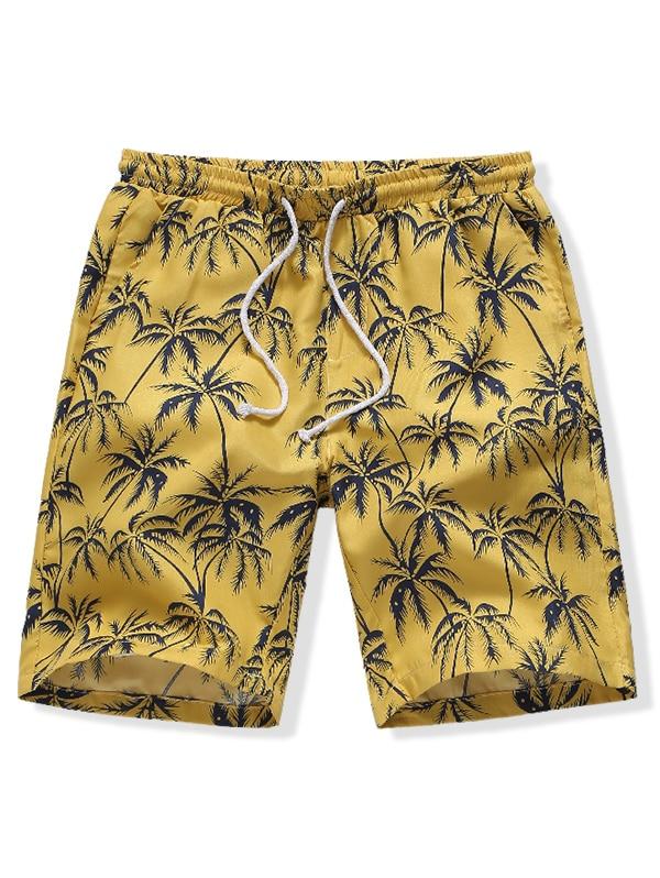 10pcs Mens Swimwear Quick Dry Short Pant Summer Sports Beach Board Trunk Loose Trouser Hawaii Coconut Tree Print Board Shorts