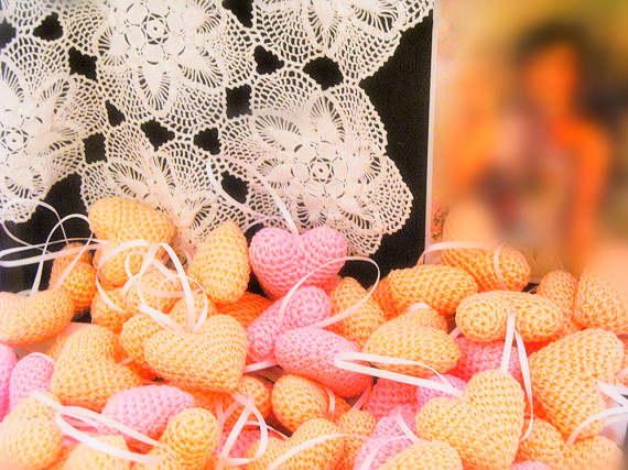 Online Shop Table Wedding Favor Table Decor Purple Crochet Hearts