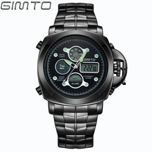 2016 GIMTO Бренд Моды для Мужчин Спортивные Часы Водонепроницаемые Нержавеющей Стали Цифровые Кварцевые Наручные Часы Человек Reloj Hombre Montre Homme
