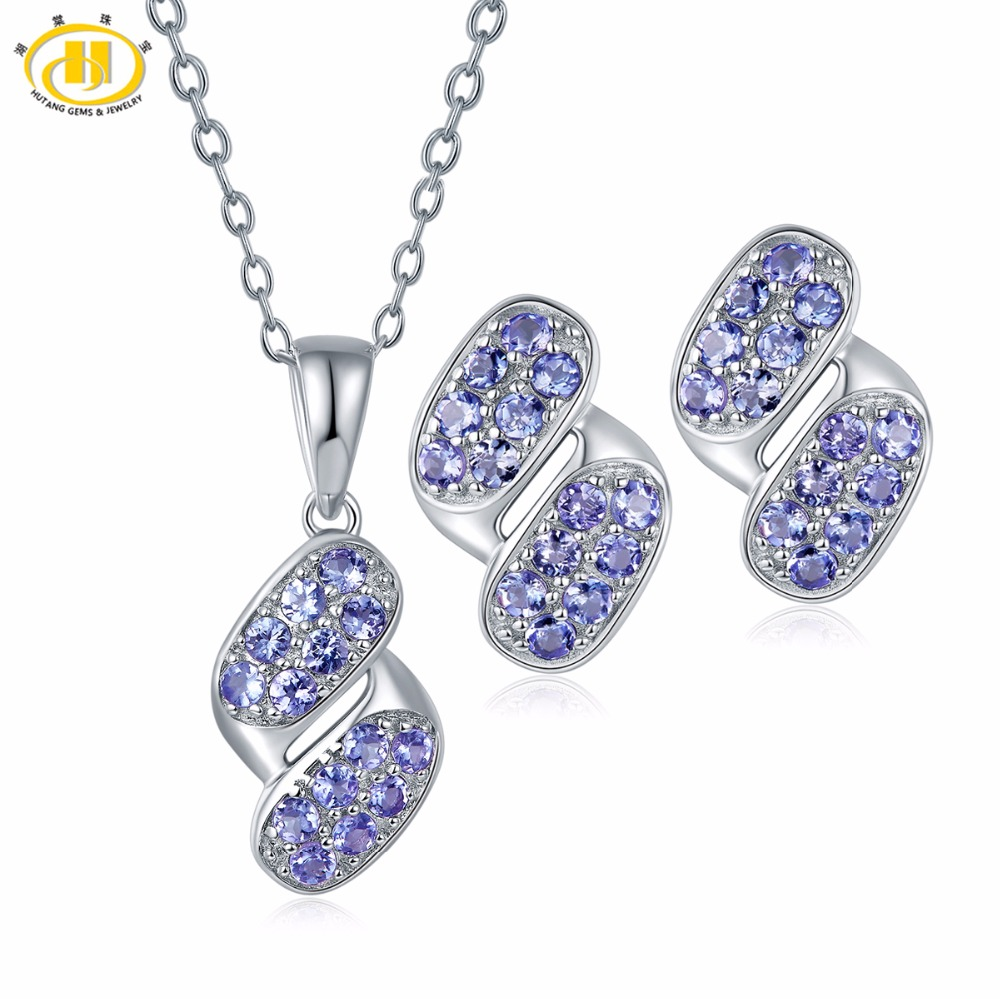 Hutang Jewerly Sets Eternity Pendant Earrings Made By Natural Gemstone Tanzanite Solid 925 Sterling Silver Fine