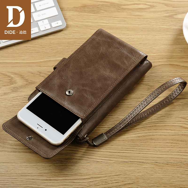 DIDE Cowhide Wallet Real-Leather Short Coin-Phone Pocket-Design High-Quality Genuine