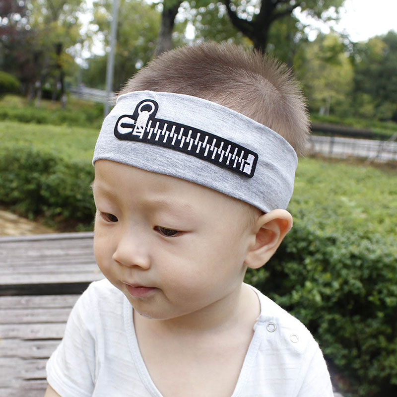 Children Label Zipper Hair Bands Baby Solid Color Hair Accessories Sports Stretch Cotton Hairbands Kids Fashion Casual Headband