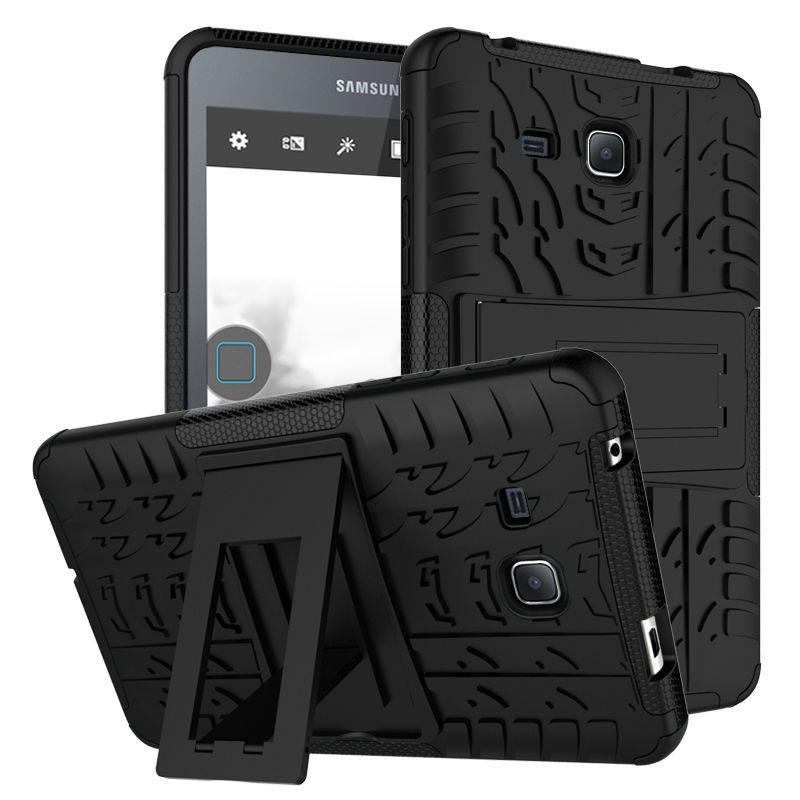 For Samsung Galaxy Tab A A6 7.0 T280 t285 Tablet case Heavy Duty Defender Rugged TPU+PC Armor Dazzle Shockproof KickStand Cover tire style tough rugged dual layer hybrid hard kickstand duty armor case for samsung galaxy tab a 10 1 2016 t580 tablet cover