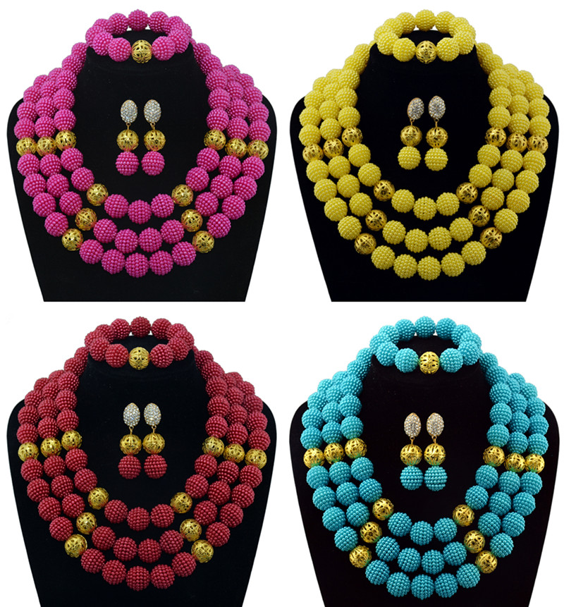 Multicolor Bridal Jewelry Sets African Wedding Beads Dubai Gold-color Jewelry Set Statement Necklace Free Shipping hot red statement choker necklace african wedding beads for women set dubai costume bridal lace jewelry set free shipping abf550