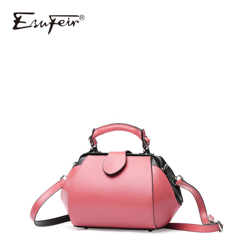 ESUFEIR 2018 Europe And American Fashion Shoulder Bag Women Messenger Bag Solid Color Buckle Doctor Bag Ladies Handbags micocah women simple double color buckle buckle shoulder bag chain messenger bag gn40021