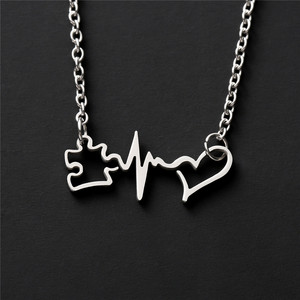 Autism Pendant Inspirational Awareness Heartbeat Accept Understand Love Necklace Jewelry YLQ7806(China)