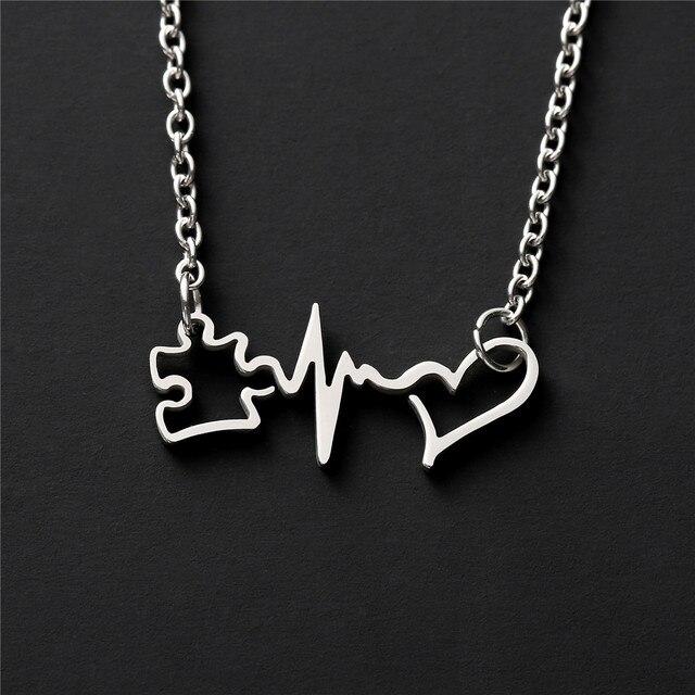 Autyzm wisiorek inspirujący świadomości bicie serca zaakceptować zrozumieć miłość naszyjnik biżuteria YLQ7806
