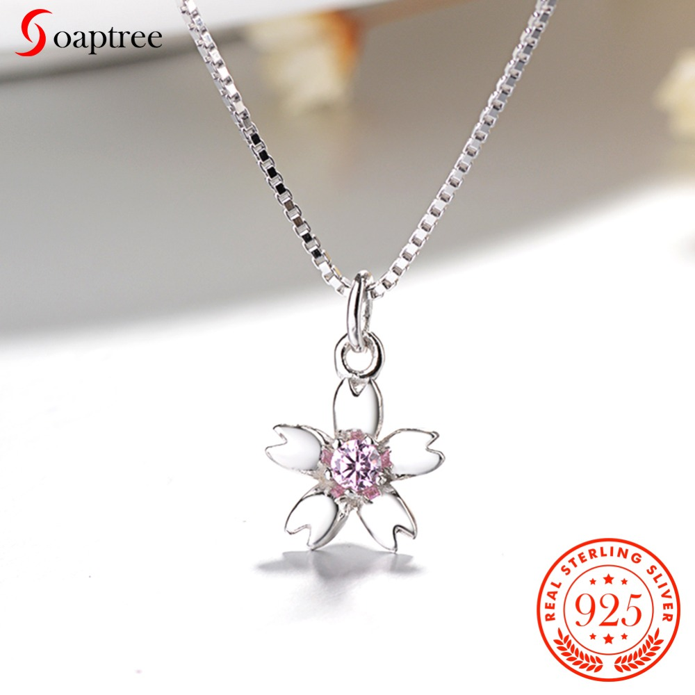 Soaptree Neaklace & Pendant 925 Sterling Silver Jewelry Cherry Blossoms Flower Necklaces With Box Chain Choker Pendant Jewelry