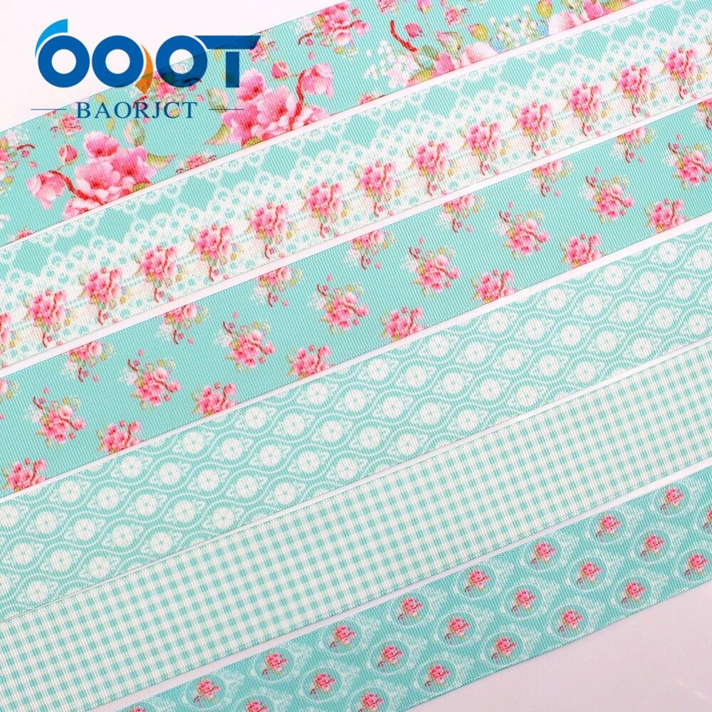 OOOT BAORJCT 1712272 38 Mm 10 Yards Flower Ribbons Thermal Transfer Printing Lattice Wedding Accessories DIY Handmade Materials
