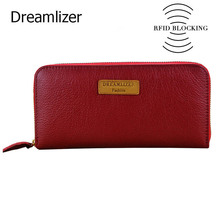 Dreamlizer RFID Blocking Zipper Around Women Leather Wallet Long Portefeuille Femme Clutch Purse Female Coin Purse Lady Bag