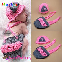 30259f69c Baby Girl Pink Firefighter Hat Ruffled Diaper Cover Set Newborn BABY Crochet  Photography Prop Knitted Infant
