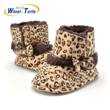 Mother Kids Baby Shoes First walkers Unisex Winter Leopard Boots For Infant Baby Cotton Thinken Faux Fur First walker Soft Boots стоимость