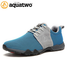 Hot Sale 2016 Top Fashion AQUA TWO Breathable Casual Shoes Lace Up Mesh Shoes For Men Flats Light US6-10# Oxford Shoes For Men