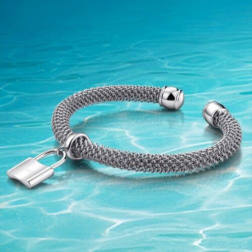 Fashion silver thick bracelet Lock the woman shaped pendant solid 925 silver bracelet open bracelets Real silver jewellery