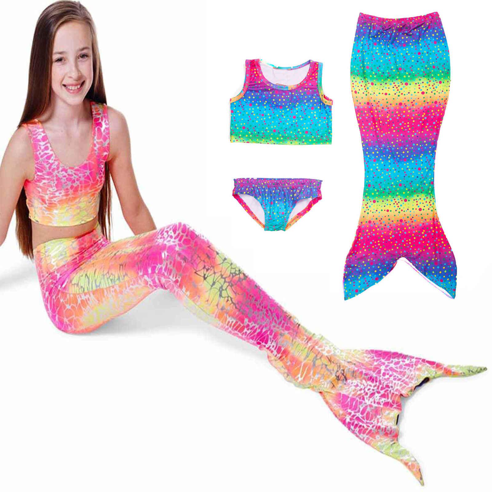 c545f490368 Kids Mermaid Cosplay Swimming Suit Little Mermaid Tails Children swimming  mermaid tail Bikini Dress Skirt Hot