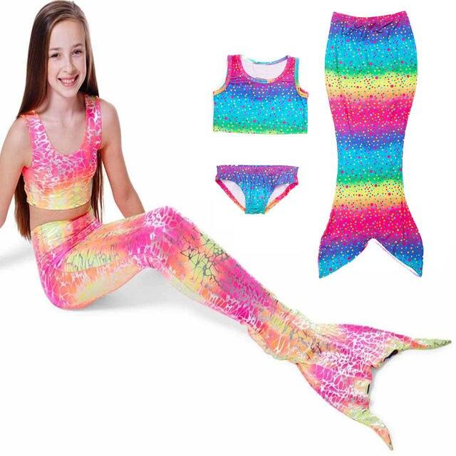 cb2dd4e15 Kids Mermaid Cosplay Swimming Suit Little Mermaid Tails Children swimming  mermaid tail Bikini Dress Skirt Hot