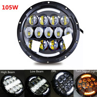 H4 Plug H13 Round 7inch 105W LED Head light Hi/Lo Beam with DRL Fog Driving lights for Jeep Wrangler JK CJ 8 Scrambler