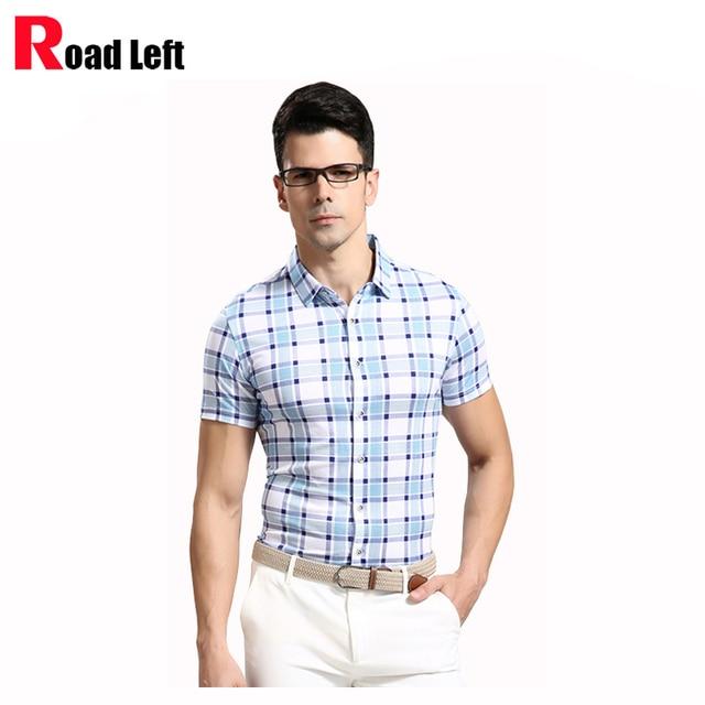 2016 Летний Стиль Высокое Качество Мужская Хлопок Бизнес Случайный Рубашки Мужчины С Коротким Рукавом Slim Fit Клетчатые Рубашки Camisa Социальной Masculina