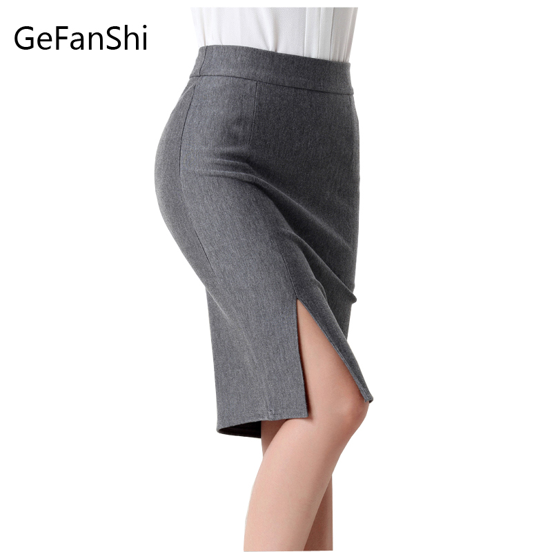 Fashion spring summer autumn 2018 new women skirt high waist work slim pencil skirt open fork sexy office lady skirts female