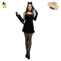 Girl S Kissable Kitty Costume Women S Sexy Fancy Black Cat Fancy Dress Costumes For Cosplay