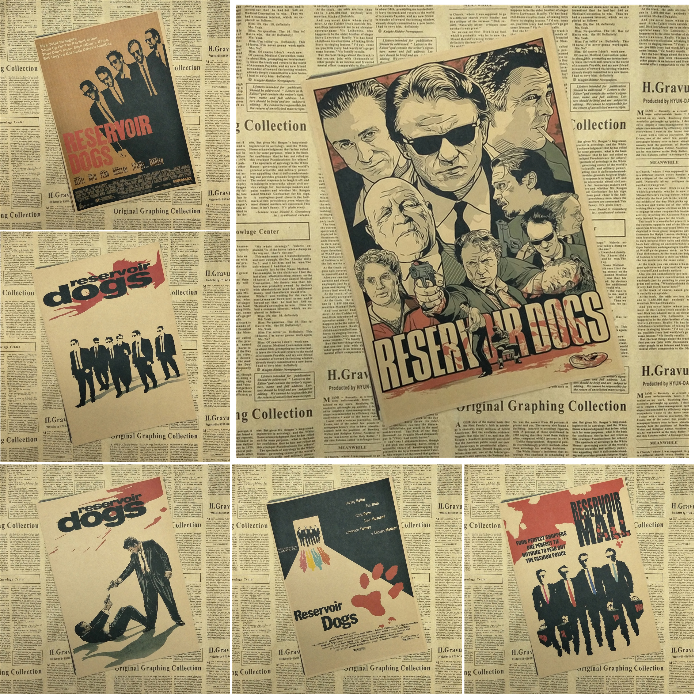 Reservoir Dog Classic Retro Movie Kraft Paper Poster Bar Cafe Dining room Decorative Paintings Quentin Tarantino image