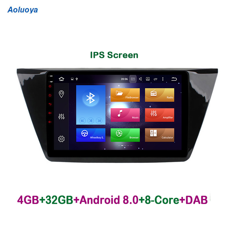 Aoluoya IPS RAM 4 GB Octa base Android 8.0 Autoradio DVD GPS Navigation Pour VW Volkswagen Touran 2016 2017 audio multimédia WIFI