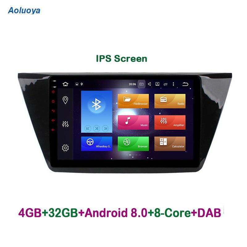Aoluoya IPS RAM 4 GB Octa base Android 8.0 Autoradio DVD GPS Navigation Pour VW Volkswagen Touran 2016 2017 audio multimédia WIFI